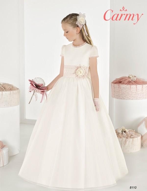 Vestido comunión niña, CARMY , modelo 7101, COLECCIÓN MODAS ALPI (VALLADOLID)