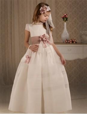 Vestido comunión niña, CEMAROS , modelo Q165, COLECCIÓN MODAS ALPI (VALLADOLID)