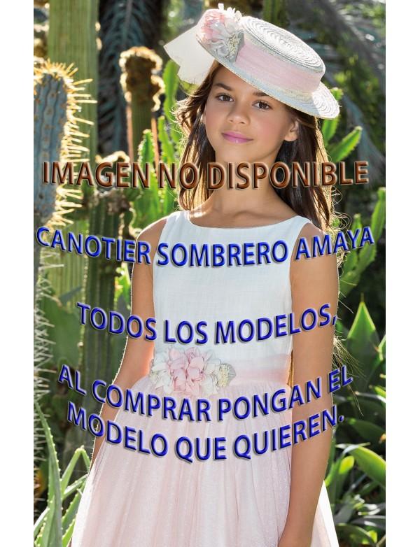 Sombrero canotier de arras ceremonia y fiesta de niña NUEVA COLECCIÓN 2018  AMAYA modelo TODOS 0b30a005129