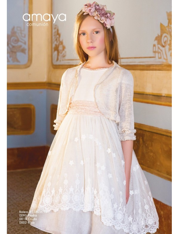 138ac042c70 Bolero chaqueta para vestido comunión niña 2019 AMAYA