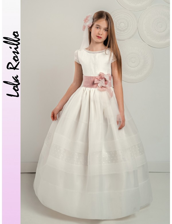 Vestido comunión niña, CEMAROS LOLA ROSILLO, modelo 02Q282, ALPI Moda Infantil (Valladolid)