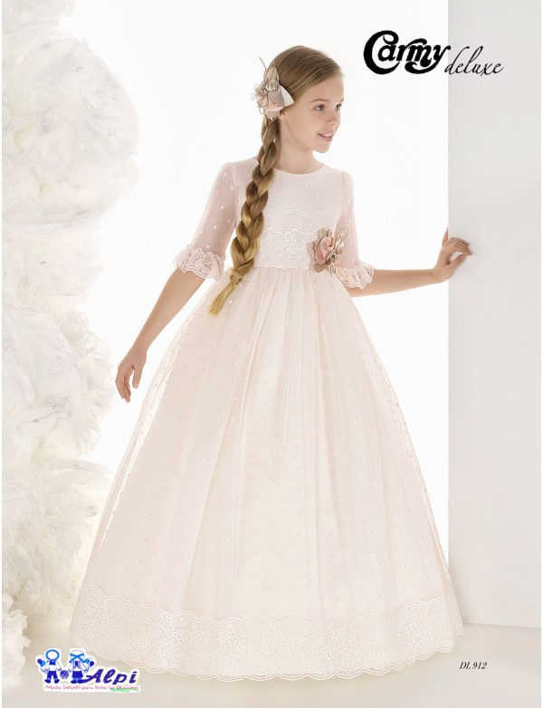 Vestido comunión niña, CARMY DELUXE , modelo DL-912, COLECCIÓN MODAS ALPI (VALLADOLID)