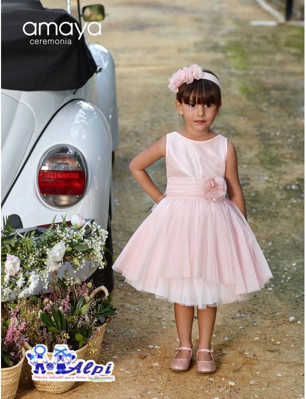 Vestido de arras ceremonia fiesta de niña, Artesanía AMAYA 2019 NUEVA COLECCIÓN, modelo 311420