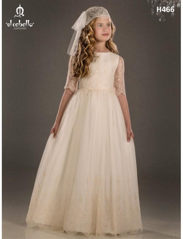 Vestido comunión niña, EL CABALLO , modelo H466 Alpi Moda Infantil (Valladolid)