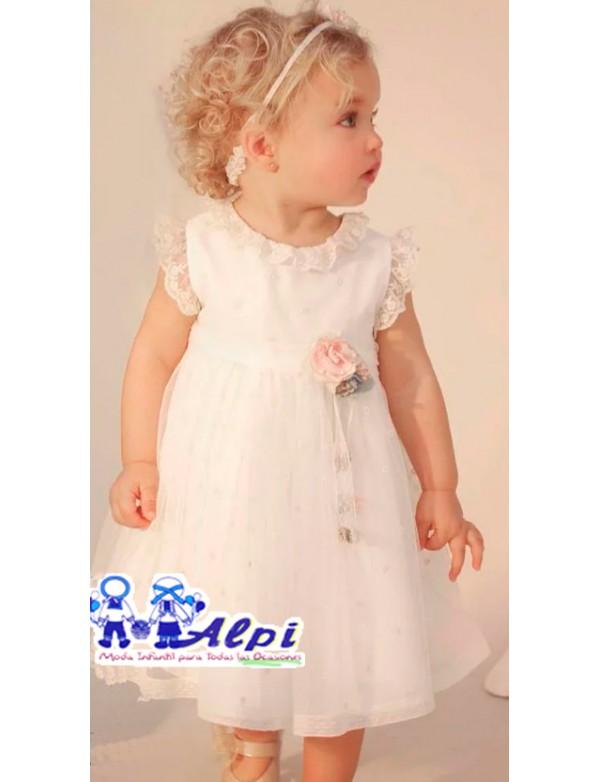 Vestido bebe AMAYA modelo 311207 arras, ceremonia, fiesta y bautizo Alpinet en Alpi Moda infantil Valladolid