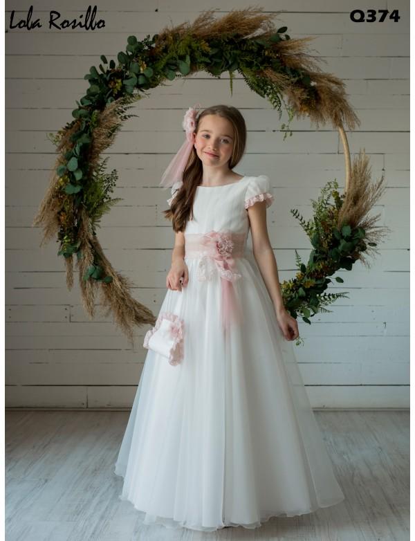 Vestido comunión niña, CEMAROS LOLA ROSILLO , modelo Q374, COLECCIÓN MODAS ALPI (VALLADOLID)