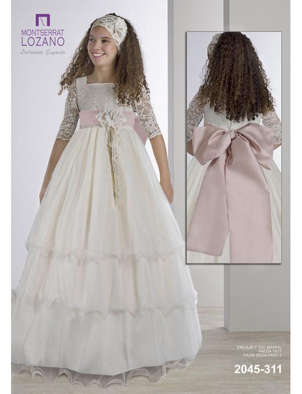 Vestido comunión niña, MONTSERRAT LOZANO, modelo 2045, ALPI Moda Infantil (Valladolid)