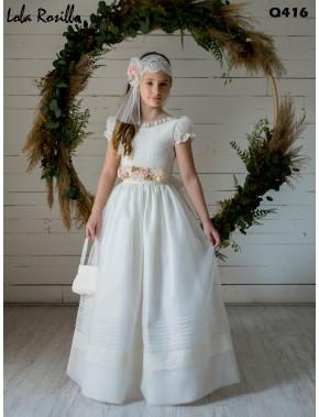 Vestido comunión niña, CEMAROS LOLA ROSILLO , modelo Q416, COLECCIÓN MODAS ALPI (VALLADOLID)