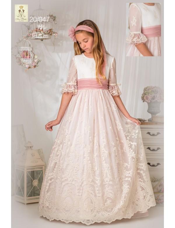 Vestido comunión niña, AVE MARIA - MOVA MODA, modelo 2047, COLECCIÓN Alpi Moda Infantil (VALLADOLID)