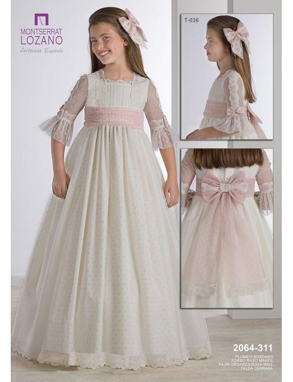 Vestido comunión niña, MONTSERRAT LOZANO, modelo 2064, ALPI Moda Infantil (Valladolid)