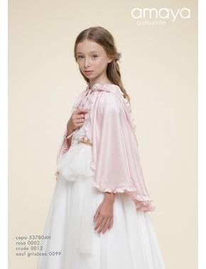 Capa con capucha para vestido niña de arras ceremonia fiesta, Artesanía AMAYA 2021, modelo 537804H Alpi Valladolid