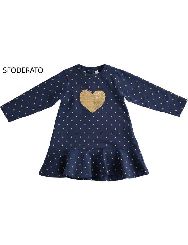 IDO vestido azul topos niña ropa invierno modelo 44602 en Alpi Moda Infantil Valladolid, alpinet.es compra online