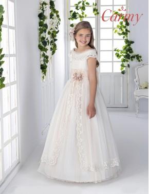 Vestido comunión niña, CARMY , modelo 8802, COLECCIÓN MODAS ALPI (VALLADOLID)