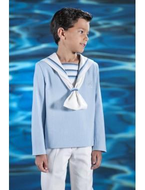 Traje de comunión 2016 de Marinero de niño,VARONES, modelo Matelot azul clarito.